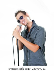 Young european singer on the white background