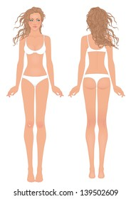Young European woman's body template: front and back.
