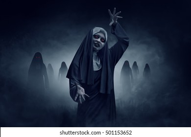 Young evil asian woman nun scare on the dark room