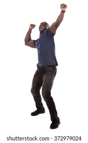 young excited casual black man screaming on white background