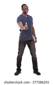 young excited casual black man giving thumbs up on white background