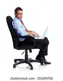 Young executive businessman isolated over white background