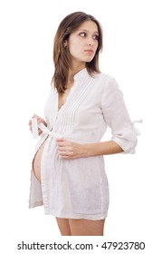 Young expectant mother on white background