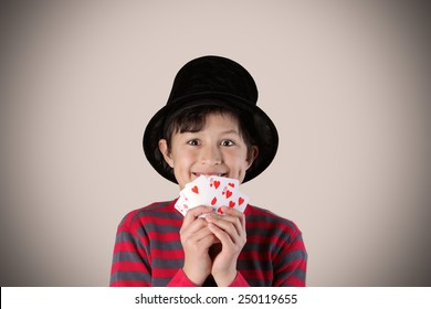 Young expressive magician with cards - with vintage colors and effects