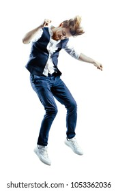 Young falling hipster isolated on white background.