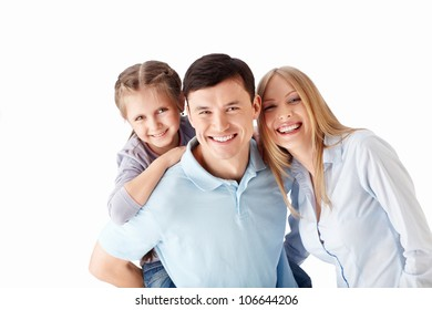 Young families with a child on a white background