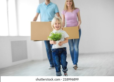 Young family with a child move