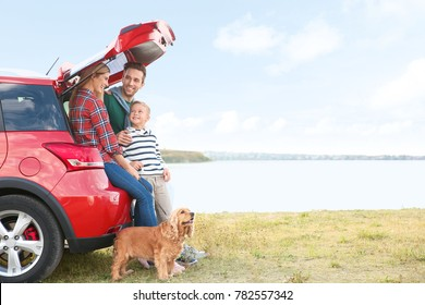 Young family with cute boy and dog near car