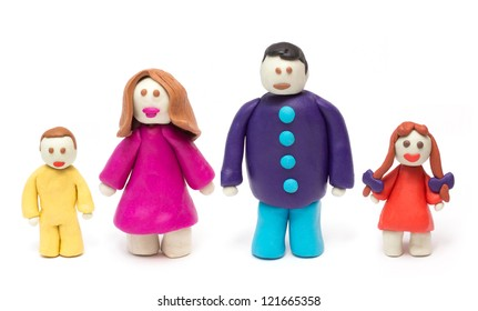Young family hand made from clay