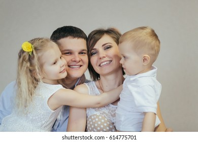 Young family at home closeup