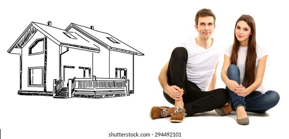 Young family and house drawing isolated on white