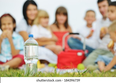 Young family with kids having picnic on green grass meadow in nature