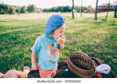 Young family with kids having picnic outdoors. Parents with two children relax in a sunny summer garden.