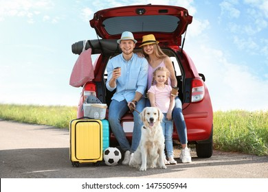 Young family with luggage and dog near car trunk outdoors