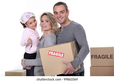 Young family moving house