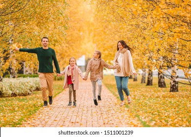 Young family on autumn vacation