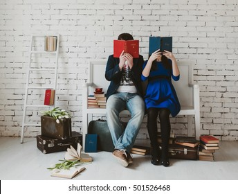 Young family are reading books