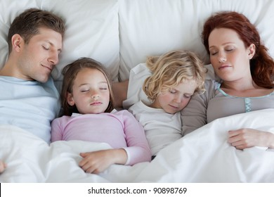 Young family taking a rest together