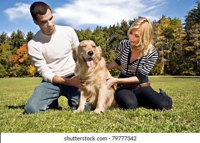 Young Family with their dog