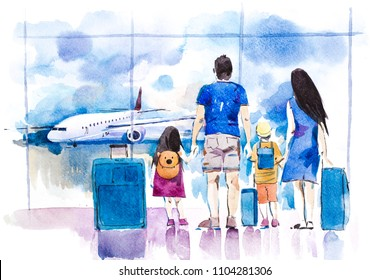 Young family travelling in international airport standing near window.