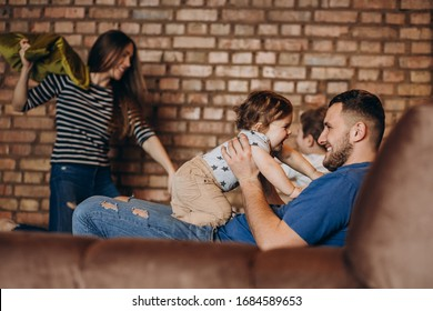 Young family with two little kids