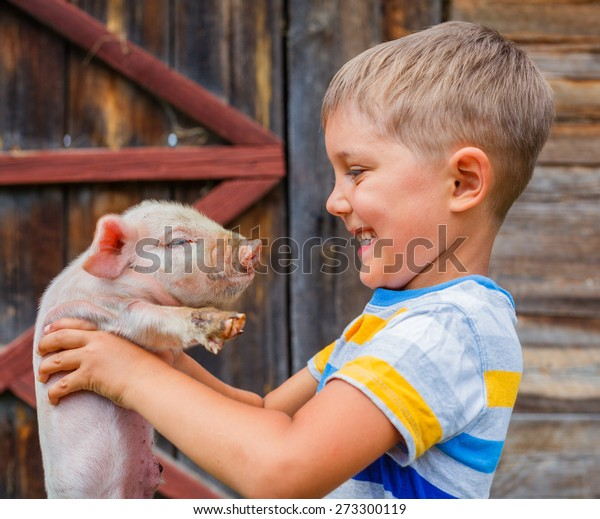 Young farmer - cute boy holding white piglet on a farm