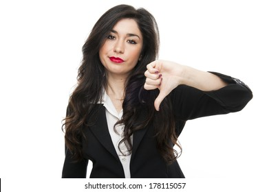 Young fashion business woman say no on white background