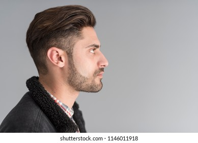 Young fashion man profile image on gray background