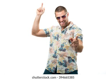 Young fashion man wearing sunglasses isolated on white background