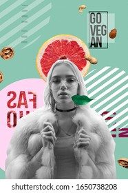 Young fashion stylish teen girl wear faux fur look at camera on trendy vegan minimal creative modern contemporary art collage aqua menthe background, zine culture, healthy lifestyle concept Vertical
