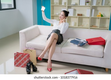 young fashion woman at home with nice presents
