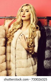 young fashionable sexy pretty woman with beautiful long curly blonde hair in waist coat of beige fur standing under rack with golden hangers on red studio background