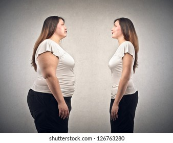 young fat woman and young woman lean