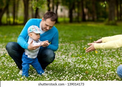 Young father with his awesome small kid