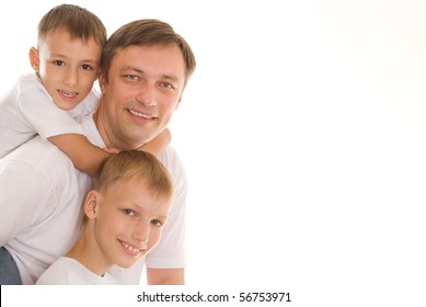 young father with his two sons