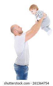 Young father and little child on a white background. Happy family.