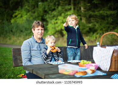 Young father and two little toddler boys picnicking in nature, near forest and lake in summer. Cute siblings children and man eating fresh healthy food.