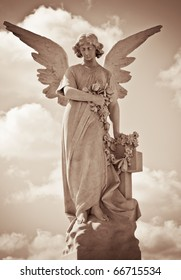 Young female angel in sepia tones standing against a dramatic sky