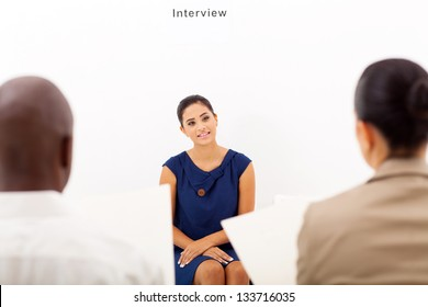 young female applicant during job interview