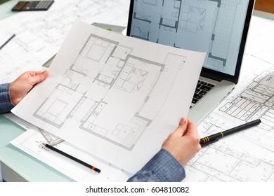 Top View Architect Interior Designer Working Stock Photo (Royalty ...