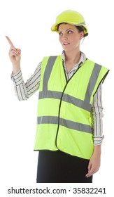 A young female architect wearing the latest high visibility safety equipment