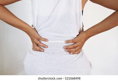 Young female with backache. Woman with back pain