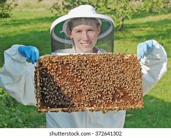 Young female beekeeper holding a frame full of bees