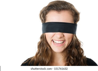 young female with black blindfold laughing closeup isolated on white