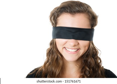 young female with black blindfold smiling closeup isolated on white