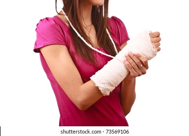 young female with broken hand in cast, face not visible