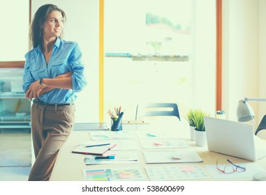 Young female businesswoman in the office near desk