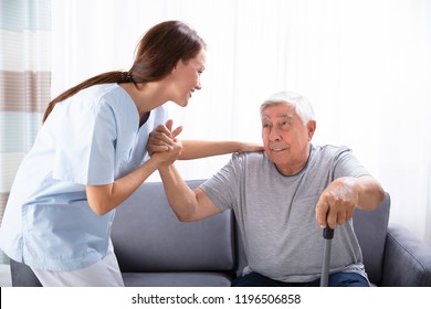 Young Female Caretaker Assisting Senior Man To Get Up From Sofa At Home