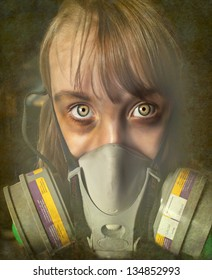 Young female child wearing a gas mask in perhaps a post apocalyptic world.