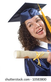 Young female college graduate with plenty of space for copy
